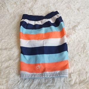 3/$15 OP orange blue striped swim trunks size 5T